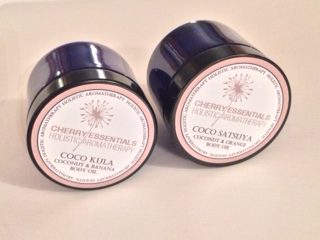 Coco Kula and Coco Satsuya, coconut body oil blends for skin and hair by Cherry Essentials