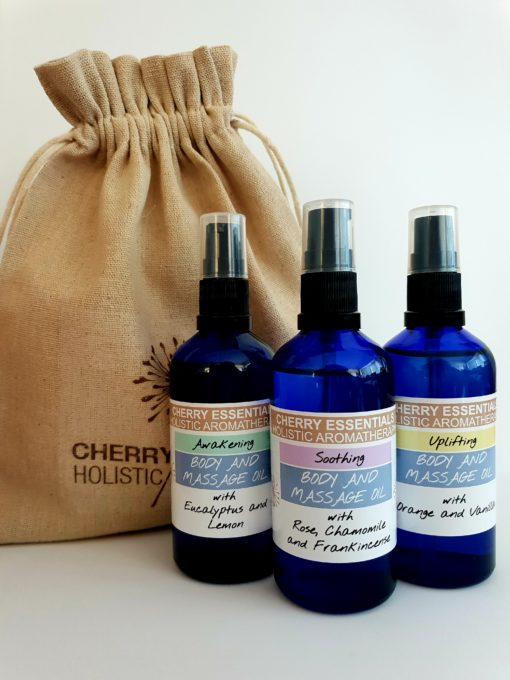 Body and Massage Oils Gift Set by Cherry Essentials. Including: Awakening Body Oil with Eucalyptus and Lemon, Soothing Body Oil with Rose, Chamomile and Frankincense and Uplifting Body Oil with Orange and Vanilla