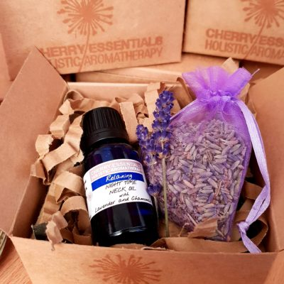 Lavender Gift Set by Cherry Essentials. Includes: Night TIme Neck Oil with Lavender and Chamomile 15ml and lilac lavender bag